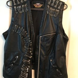 Harley Davidson Women's XL Black Leather Vest